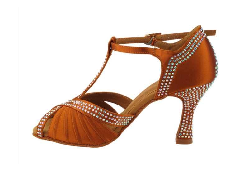 Zapato de baile- DAMA SHOES- Malaquita Copper Tan Satin