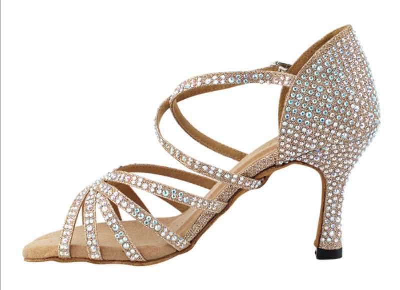 Zapato de baile -DAMA SHOES-Tiffany Champagne Glitter Satin