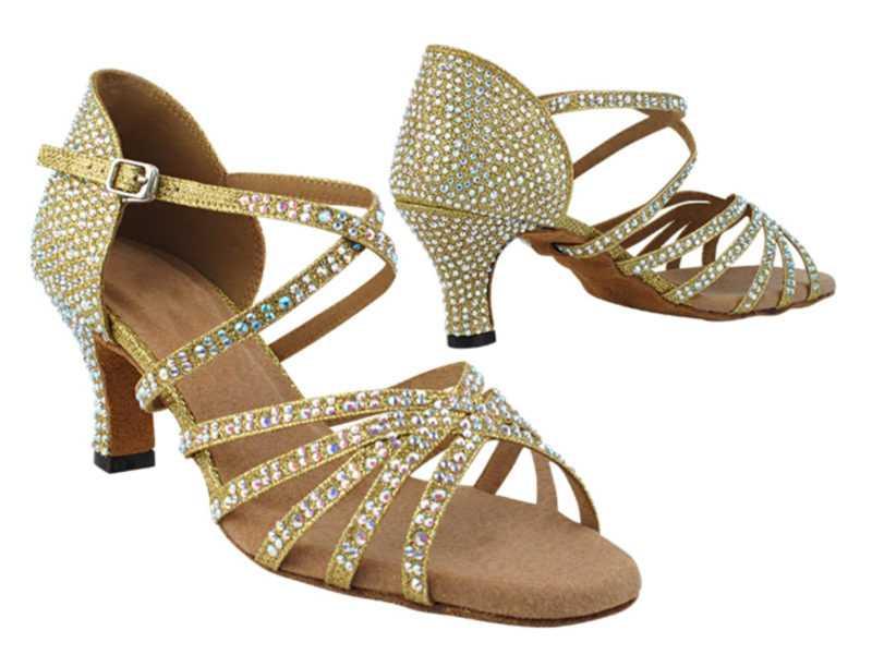 Zapato de baile -DAMA SHOES-Tiffany Gold Glitter Satin