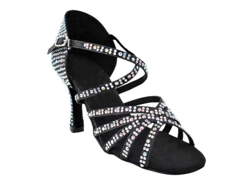 Zapato de baile -DAMA SHOES-Tiffany Black Glitter Satin