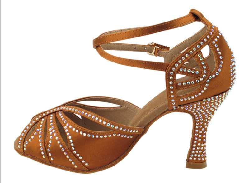 Zapato de baile -DAMA SHOES- Opalo Copper Tan Satin