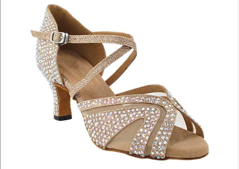 Zapato de baile -DAMA SHOES-Briolette Champagne Glitter Satin & mesh