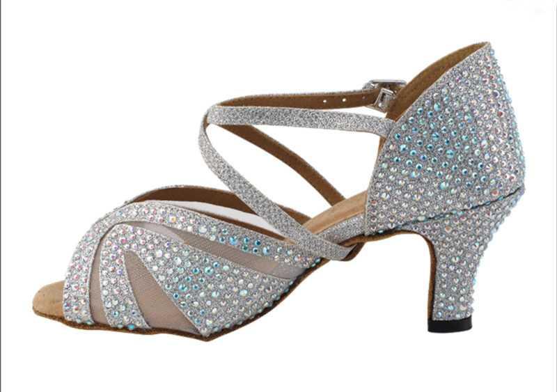 Zapato de baile -DAMA SHOES-Briolette Silver Glitter Satin & mesh
