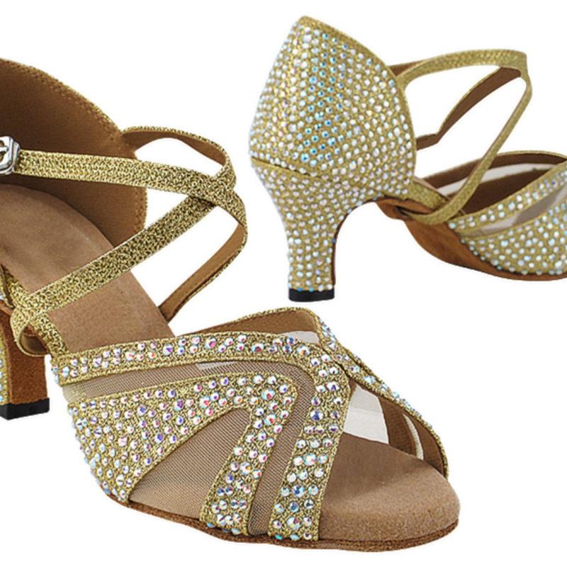 Zapato de baile -DAMA SHOES-Briolette Gold Glitter Satin & mesh