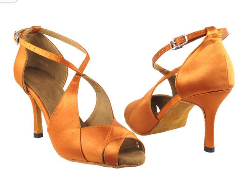 Zapato de baile -DAMA SHOES-Indigo Dark Tan Satin
