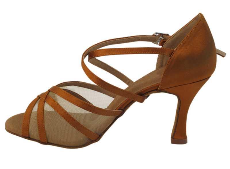 Zapato de baile -DAMA SHOES-Jael Dark Tan Satin