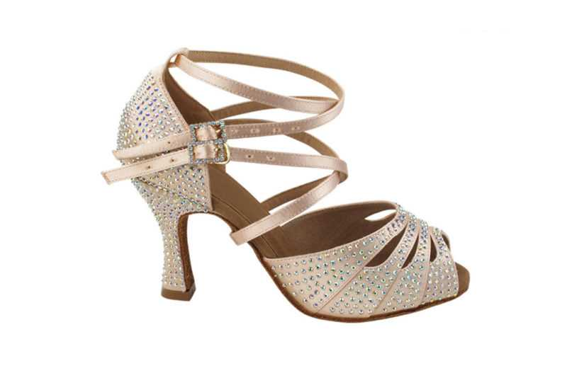 Zapato de baile -DAMA SHOES- Zircon Flesh Satin