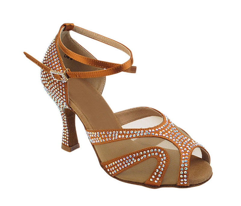 Zapato de baile -DAMA SHOES -Amatista Copper Tan Satin