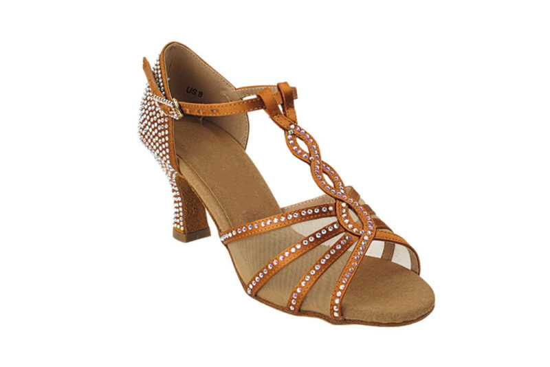 Zapato de baile -DAMA SHOES- Asscher Copper Tan Satin