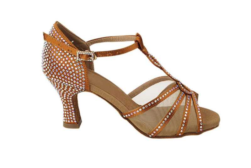 Zapato de baile -DAMA SHOES -Asscher Copper Tan Satin