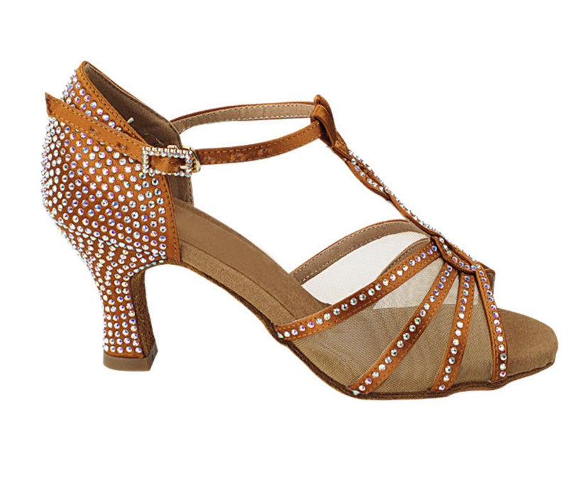 Zapato de baile -DAMA SHOES -Asscher Copper Tan Satin