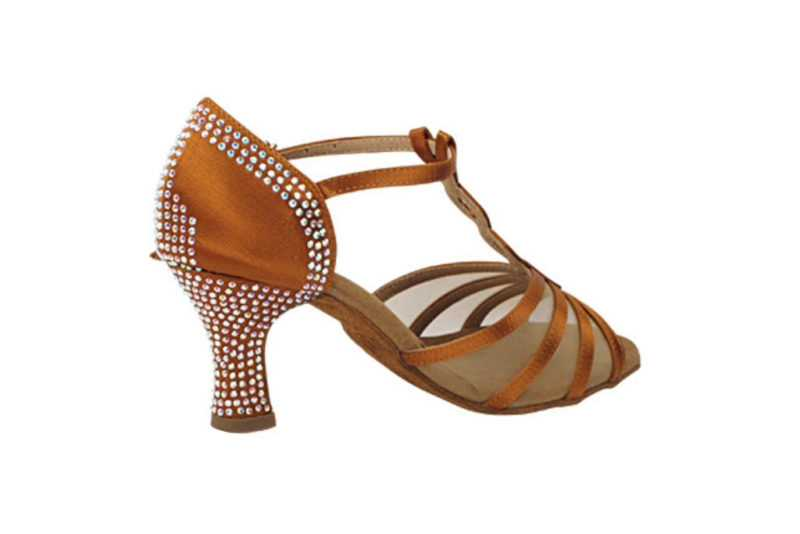 Zapato de baile- DAMA SHOES- Asscher Copper Tan Satin