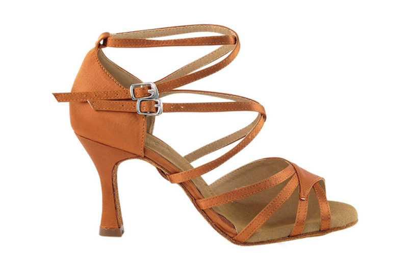 Zapato de baile - DAMA SHOES - Atenea Dark Tan Satin