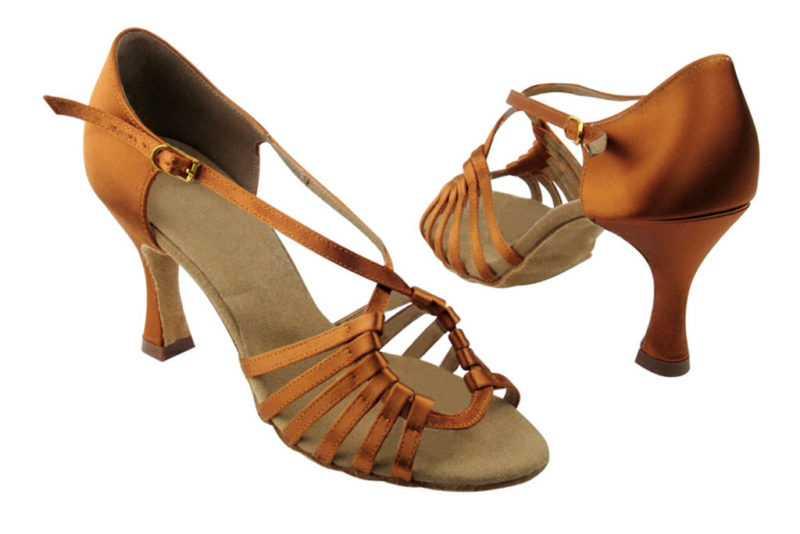 Zapato de baile- DAMA SHOES -Axa Dark Tan Satin