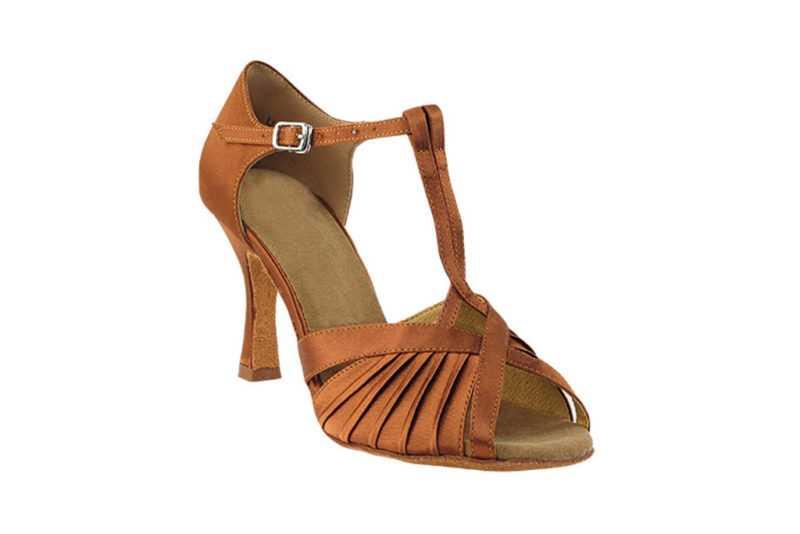 Zapato de baile-DAMA SHOES-Casandra Dark Tan Satin