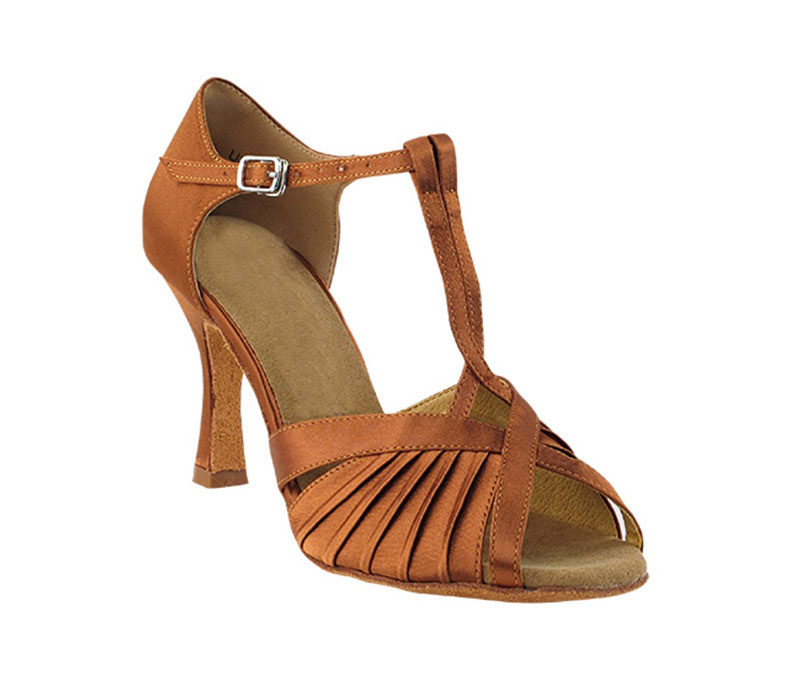 Zapato de baile-DAMA SHOES-Casandra Dark Tan Satin