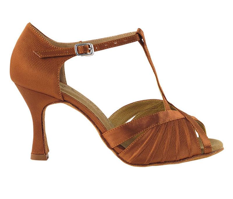 Zapato de baile- DAMA SHOES- Casandra Dark Tan Satin