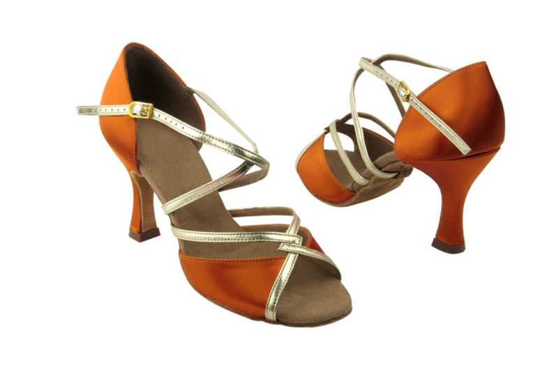 Zapato de baile - DAMA SHOES- Cyan Dark Tan Satin & Gold