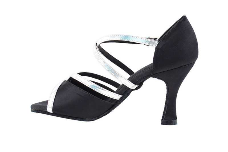 Zapato de baile - DAMA SHOES - Cyan Black Satin & Silver