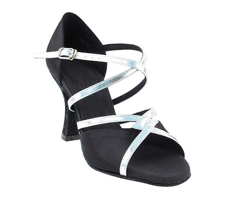 Zapato de baile - DAMA SHOES- Cyan Black Satin & Silver.