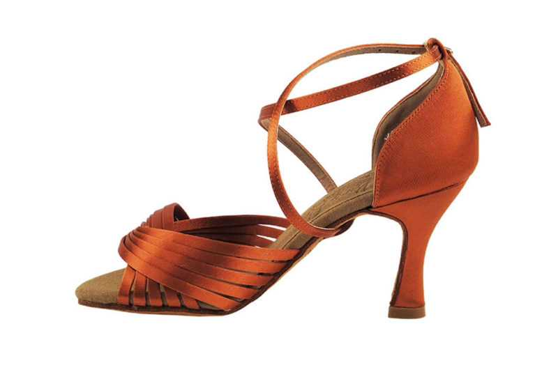 Zapato de baile- DAMA SHOES- Gany Dark Tan Satin