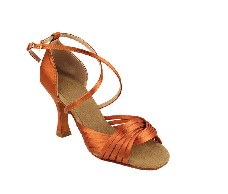 Zapato de baile- DAMA SHOES- Gany Dark Tan Satin