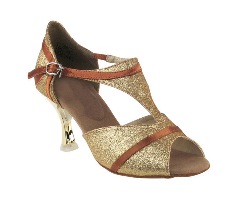 Zapato de baile- DAMA SHOES- Macy Gold Tan Satin.
