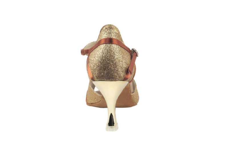 Zapato de baile- DAMA SHOES- Macy Gold Tan Satin.