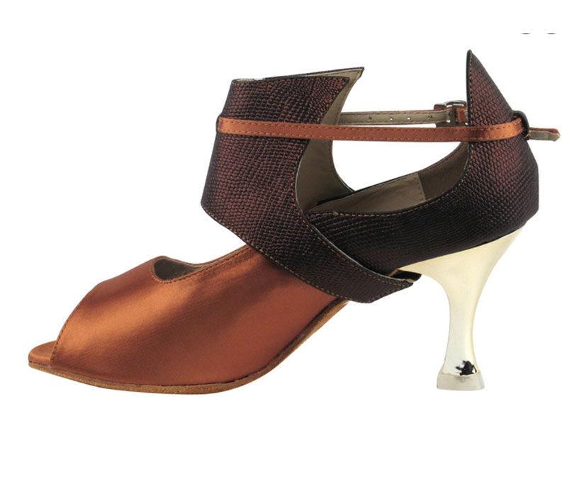 Zapato de baile - DAMA SHOES- Mel Dark Tan Satin
