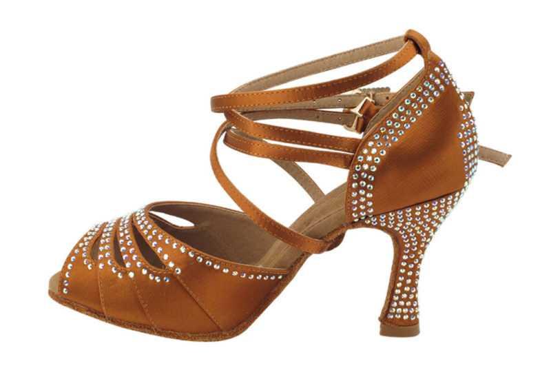 Zapato de baile -DAMA SHOES -Opalo Copper Tan Satin
