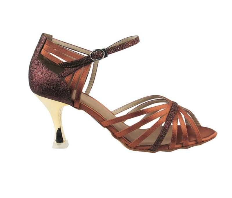 Zapato de baile-DAMA SHOES- Piper Dark Tan Satin