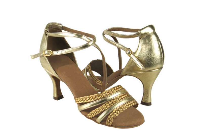 Zapato de baile-DAMA SHOES- Sapphire Gold Leather & Gold