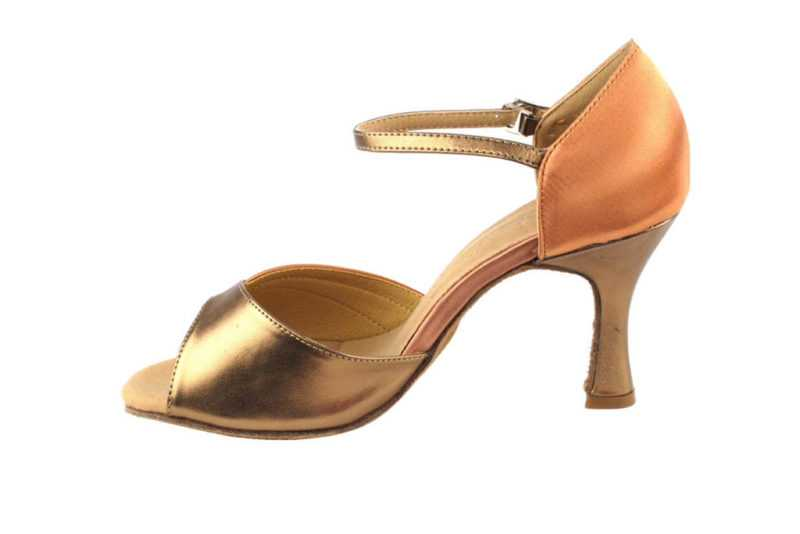 Zapato de baile - DAMA SHOES - Scarlet Tan Satin & Gold