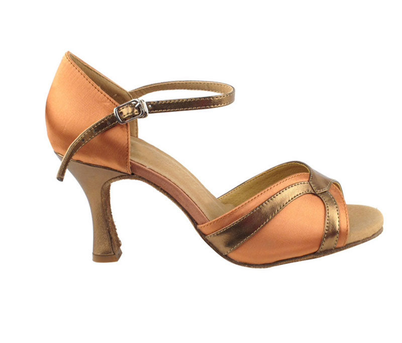 Zapato de baile -DAMA SHOES - Scarlet Tan Satin & Gold