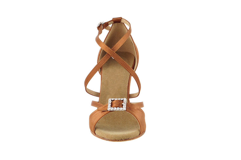 Zapato de baile-DAMA SHOES- Selene Dark Tan Satin