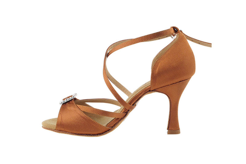 Zapato de baile- DAMA SHOES-Selene Dark Tan Satin