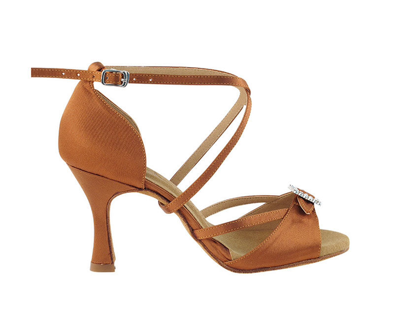 Zapato de baile- DAMA SHOES- Selene Dark Tan Satin