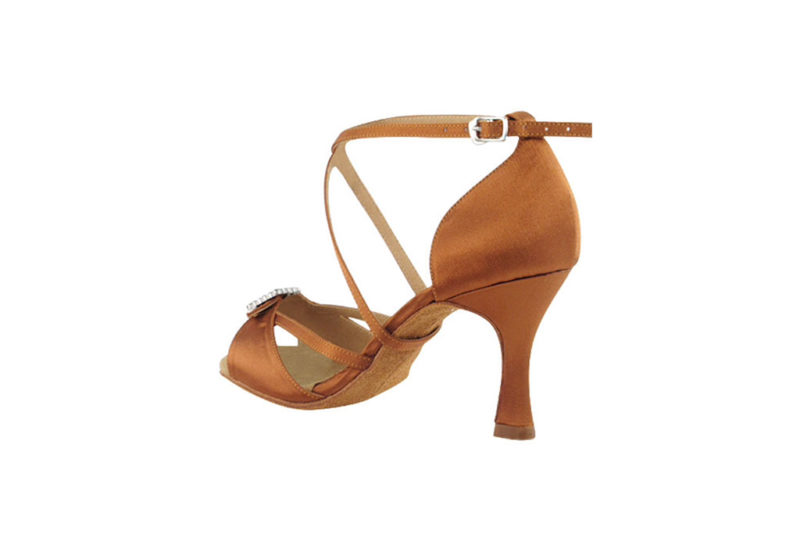 Zapato de baile-DAMA SHOES -Selene Dark Tan Satin