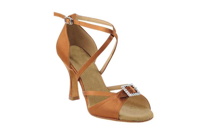 Zapato de baile- DAMA SHOES- Selene Dark Tan Satin