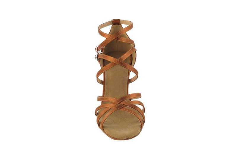 Zapato de baile-DAMA SHOES-Yael Dark Tan Satin