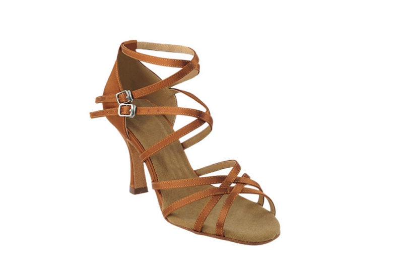 Zapato de baile- DAMA SHOES -Yael Dark Tan Satin