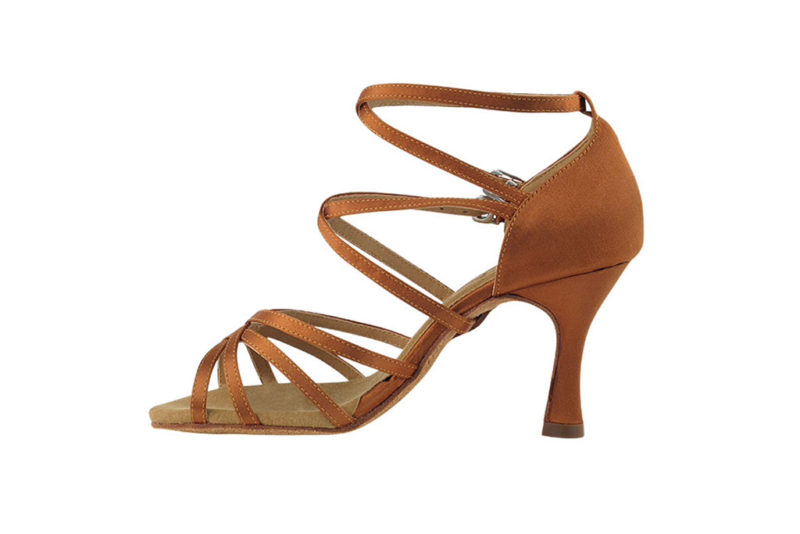 Zapato de baile DAMA SHOES-Yael Dark Tan Satin