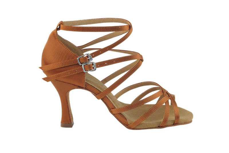Zapato de baile-DAMA SHOES- Yael Dark Tan Satin