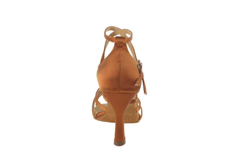 Zapato de baile -DAMA SHOES -Yael Dark Tan Satin