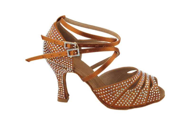 Zapato de baile- DAMA SHOES- Zircon Copper Tan Satin